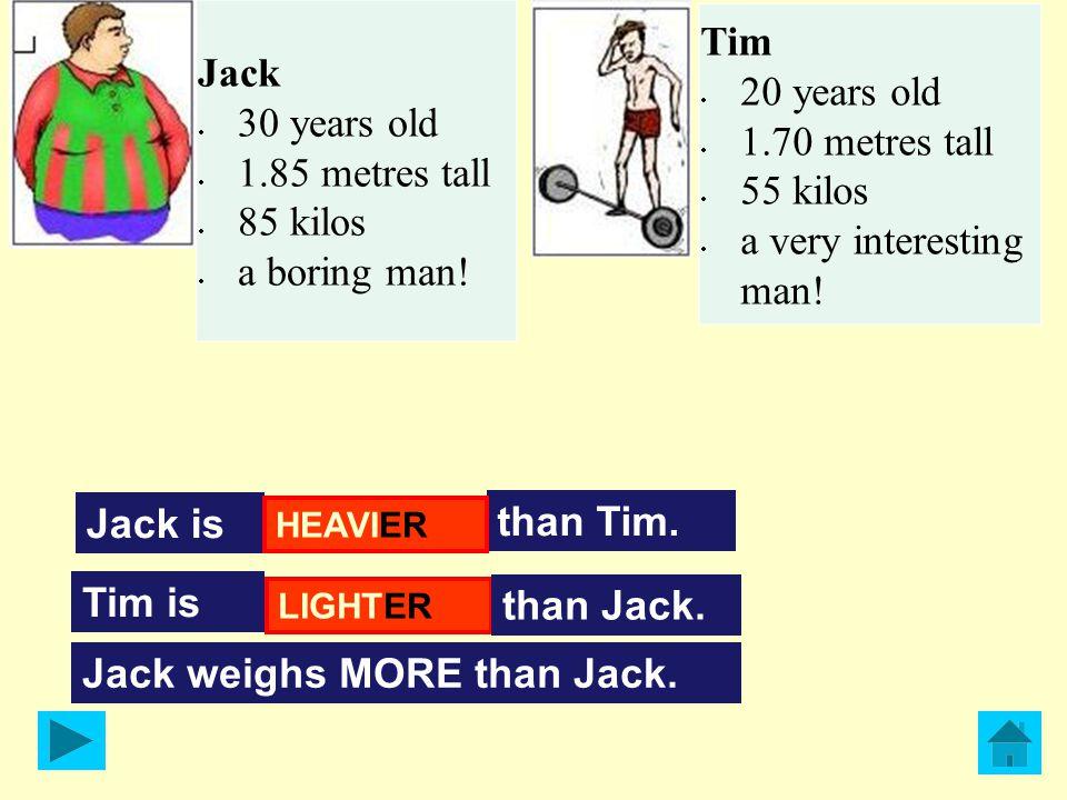 Jack is than Tim.BORING Tim is than Jack.