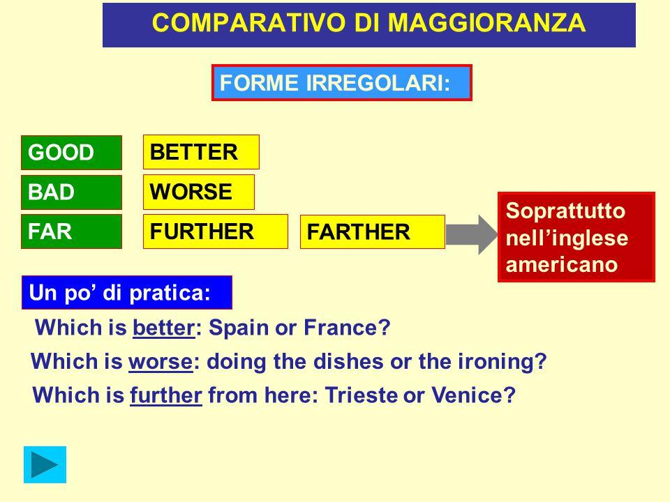 COMPARATIVO DI UGUAGLIANZA aggettivi brevi: AS TALL AS aggettivi lunghi: Mark isJohn Maths is AS INTERESTING AS Physics È usato soprattutto in frasi NEGATIVE.