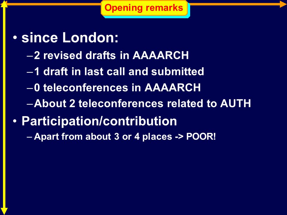 Opening remarks since London: –2 revised drafts in AAAARCH –1 draft in last call and submitted –0 teleconferences in AAAARCH –About 2 teleconferences related to AUTH Participation/contribution –Apart from about 3 or 4 places -> POOR!