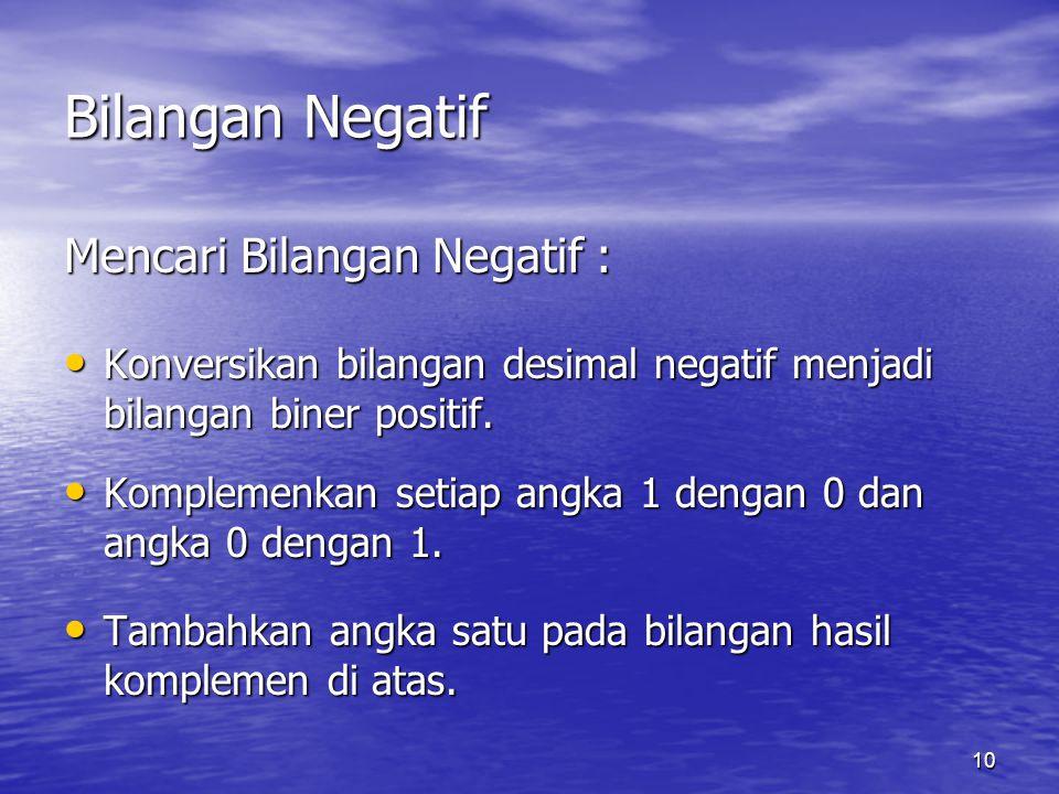 10 Bilangan Negatif Mencari Bilangan Negatif : Konversikan bilangan desimal negatif menjadi bilangan biner positif.