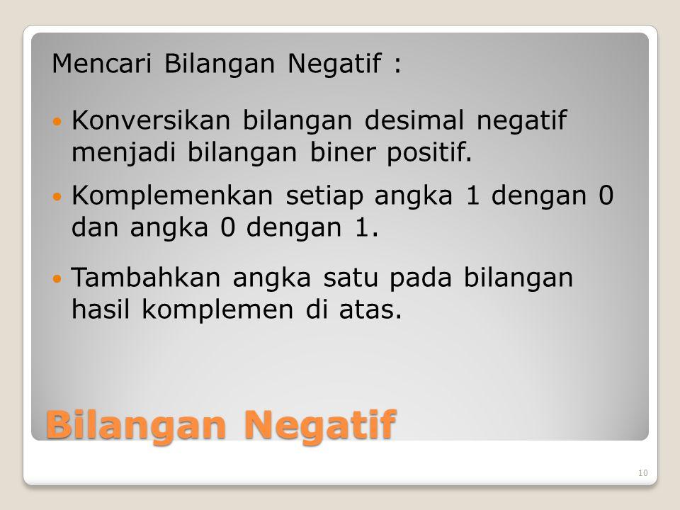 Bilangan Negatif Mencari Bilangan Negatif : Konversikan bilangan desimal negatif menjadi bilangan biner positif.