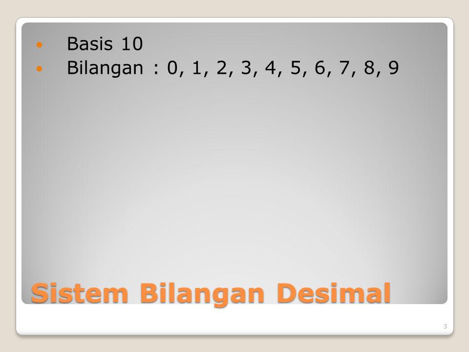 Sistem Bilangan Desimal Basis 10 Bilangan : 0, 1, 2, 3, 4, 5, 6, 7, 8, 9 3