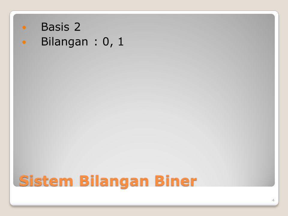Sistem Bilangan Biner Basis 2 Bilangan : 0, 1 4