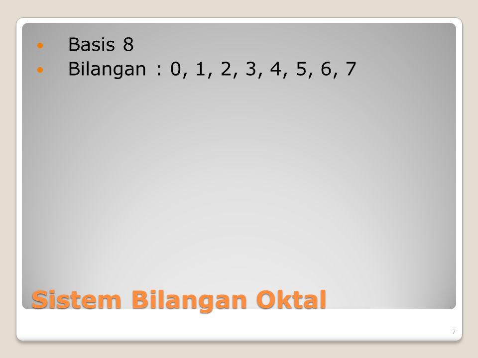 Sistem Bilangan Oktal Basis 8 Bilangan : 0, 1, 2, 3, 4, 5, 6, 7 7