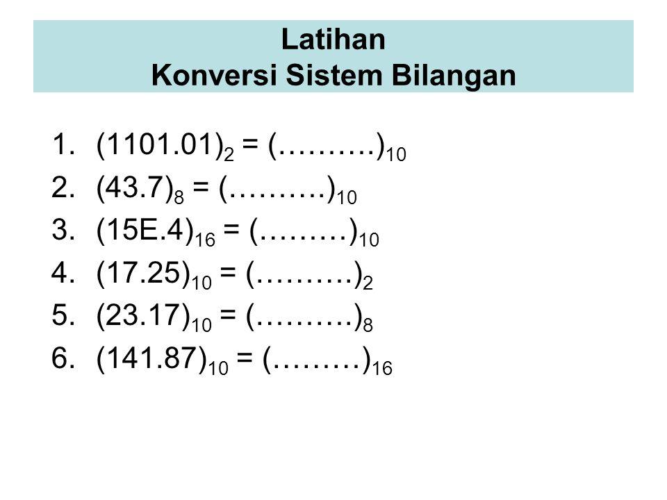 1.(1101.01) 2 = (……….) 10 2.(43.7) 8 = (……….) 10 3.(15E.4) 16 = (………) 10 4.(17.25) 10 = (……….) 2 5.(23.17) 10 = (……….) 8 6.(141.87) 10 = (………) 16 Latihan Konversi Sistem Bilangan