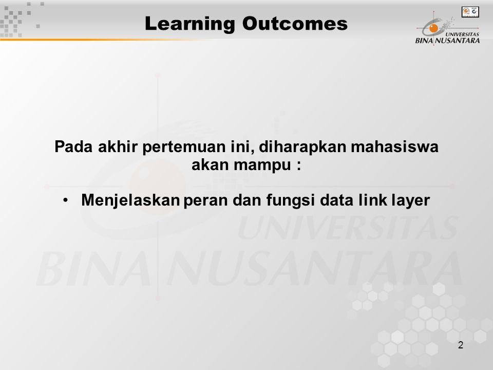 2 Learning Outcomes Pada akhir pertemuan ini, diharapkan mahasiswa akan mampu : Menjelaskan peran dan fungsi data link layer