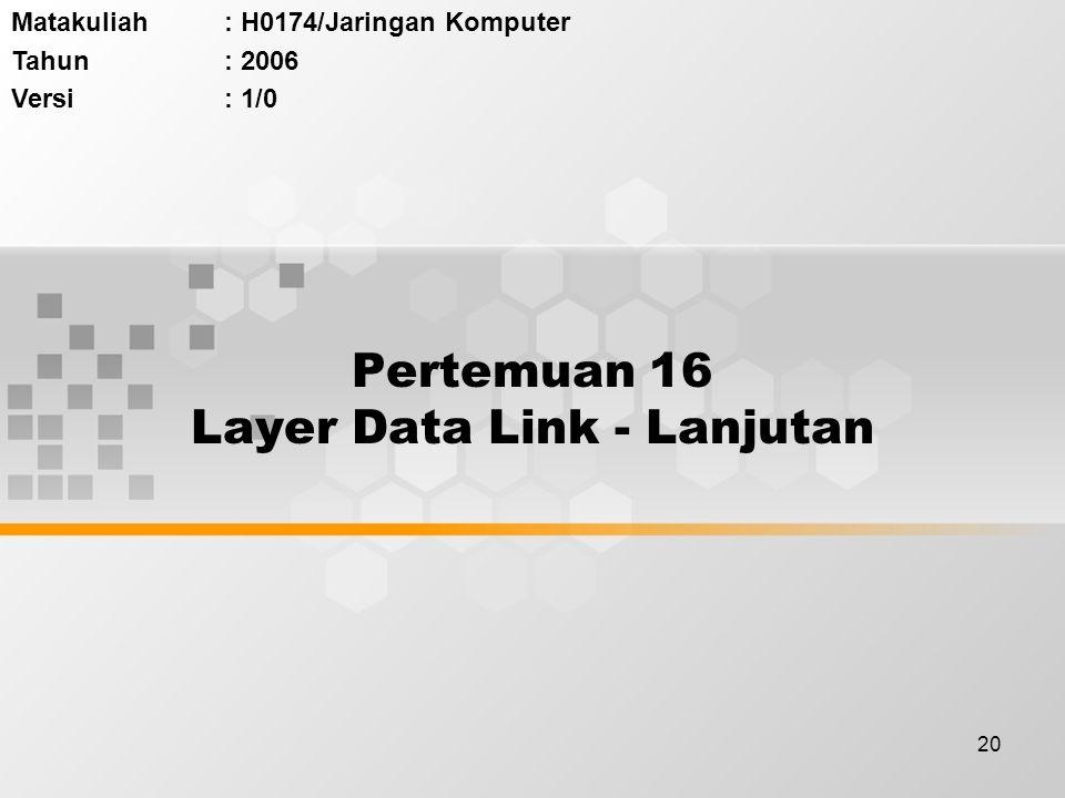 20 Pertemuan 16 Layer Data Link - Lanjutan Matakuliah: H0174/Jaringan Komputer Tahun: 2006 Versi: 1/0
