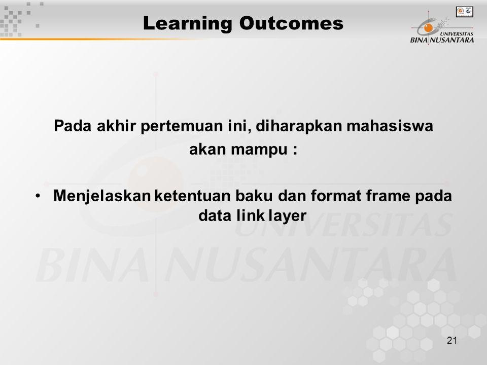 21 Learning Outcomes Pada akhir pertemuan ini, diharapkan mahasiswa akan mampu : Menjelaskan ketentuan baku dan format frame pada data link layer