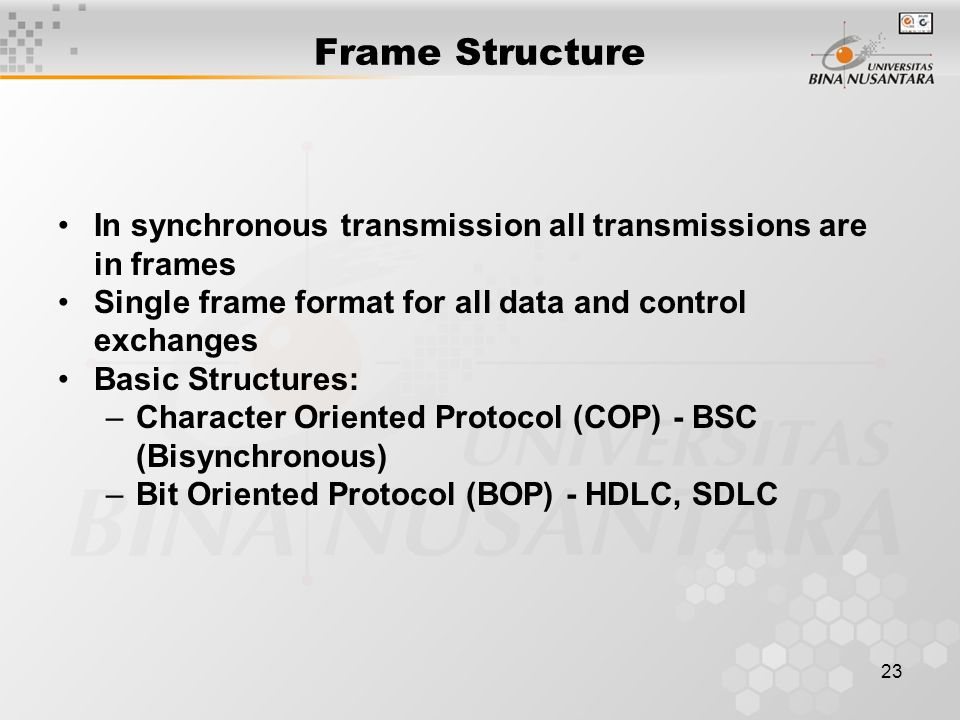 23 Frame Structure In synchronous transmission all transmissions are in frames Single frame format for all data and control exchanges Basic Structures