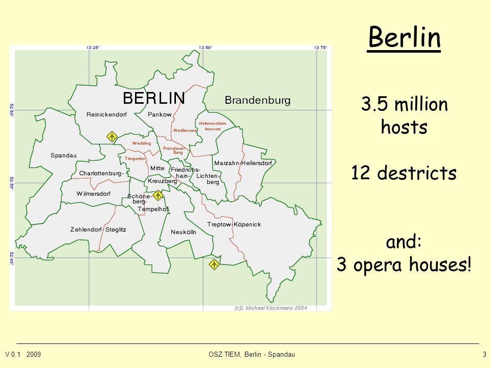 V 0.1 2009OSZ TIEM, Berlin - Spandau3 Berlin 3.5 million hosts 12 destricts and: 3 opera houses!