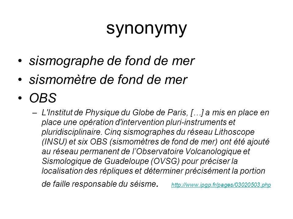 synonymy sismographe de fond de mer sismomètre de fond de mer OBS –L Institut de Physique du Globe de Paris, […] a mis en place en place une opération d intervention pluri-instruments et pluridisciplinaire.