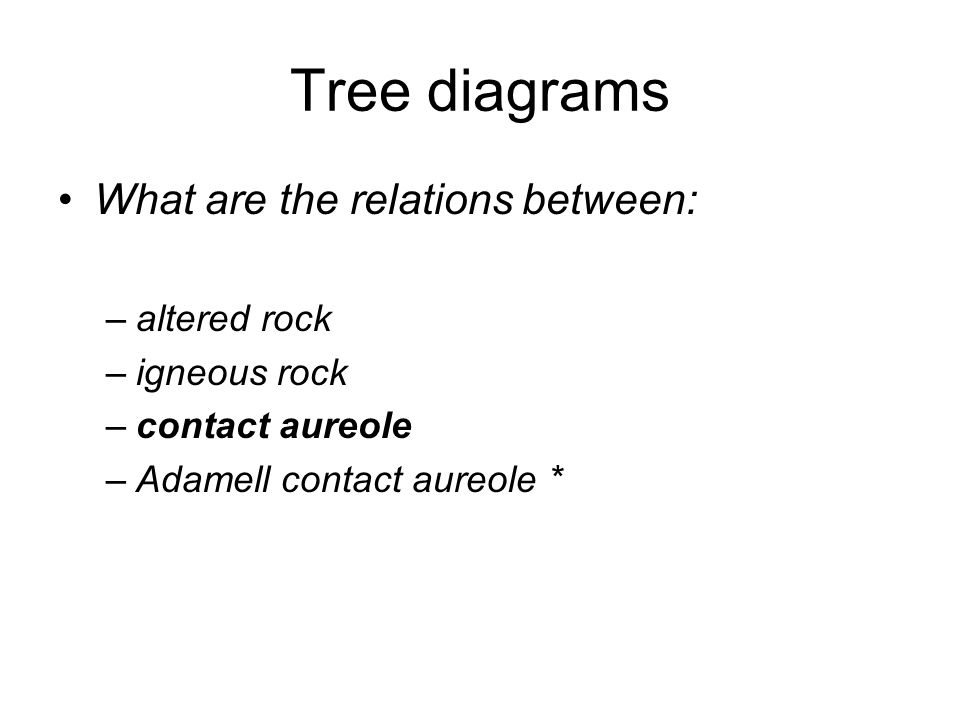 Tree diagrams What are the relations between: –altered rock –igneous rock –contact aureole –Adamell contact aureole *