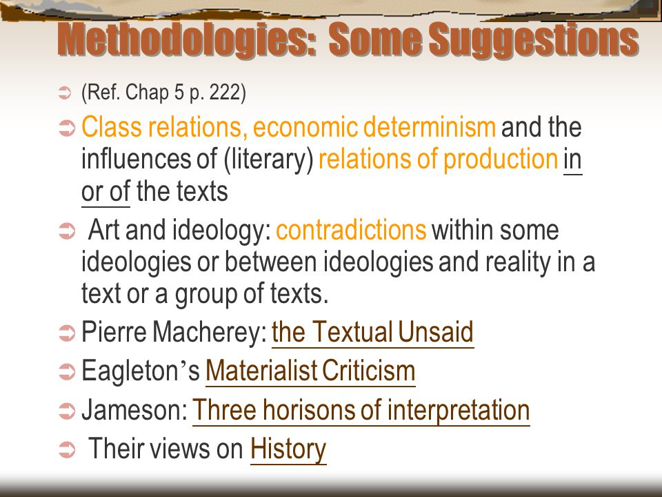 Methodologies: Some Suggestions  (Ref. Chap 5 p. 222)  Class relations, economic determinism and the influences of (literary) relations of productio