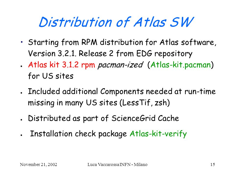 November 21, 2002Luca Vaccarossa INFN - Milano15 Distribution of Atlas SW Starting from RPM distribution for Atlas software, Version 3.2.1.