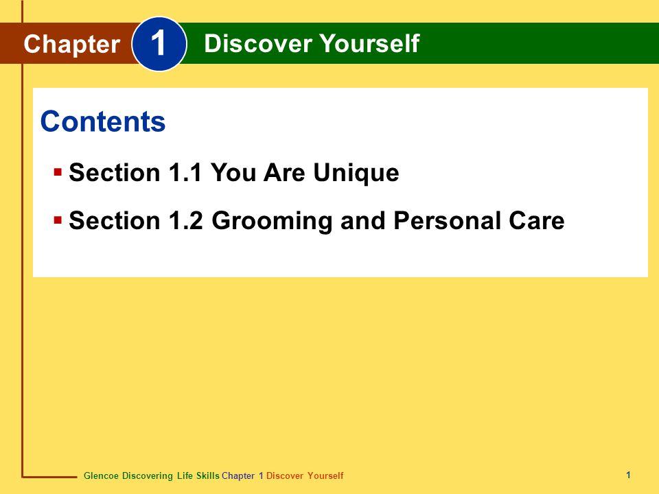 Glencoe Discovering Life Skills Chapter 1 Discover Yourself Chapter 1 Discover Yourself 12 Content Vocabulary grooming hygiene acne dermatologist cavity Academic Vocabulary durability opinion