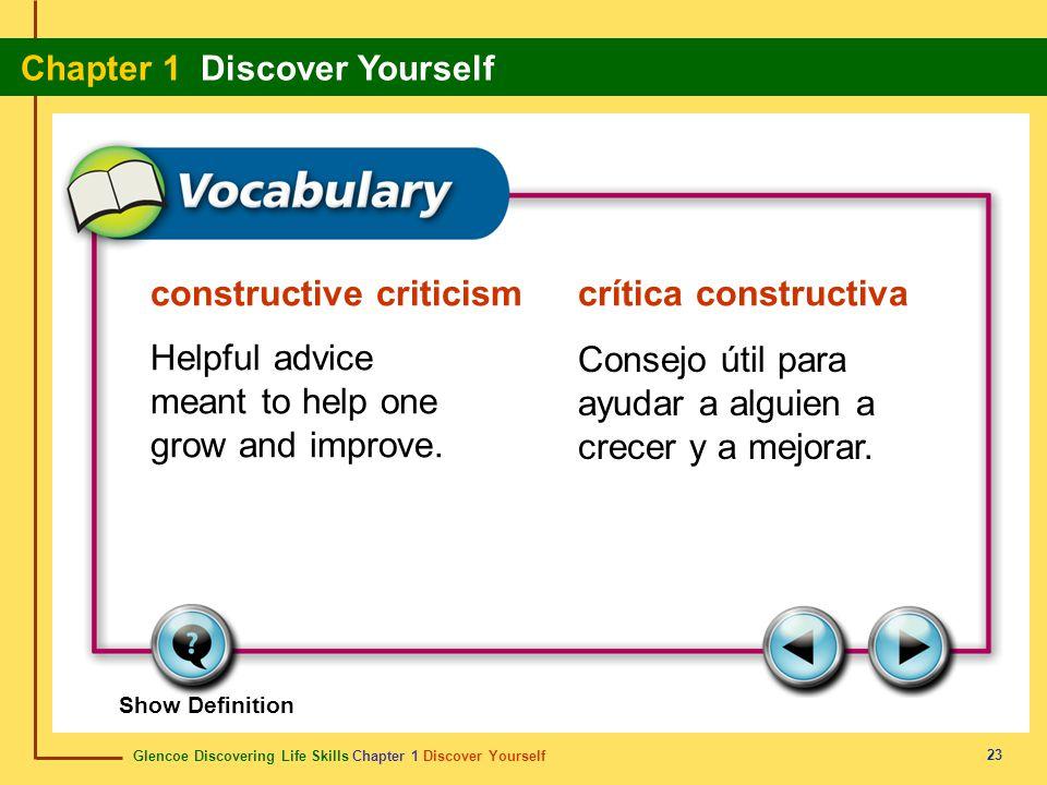 Glencoe Discovering Life Skills Chapter 1 Discover Yourself Chapter 1 Discover Yourself 23 constructive criticismcrítica constructiva Helpful advice m