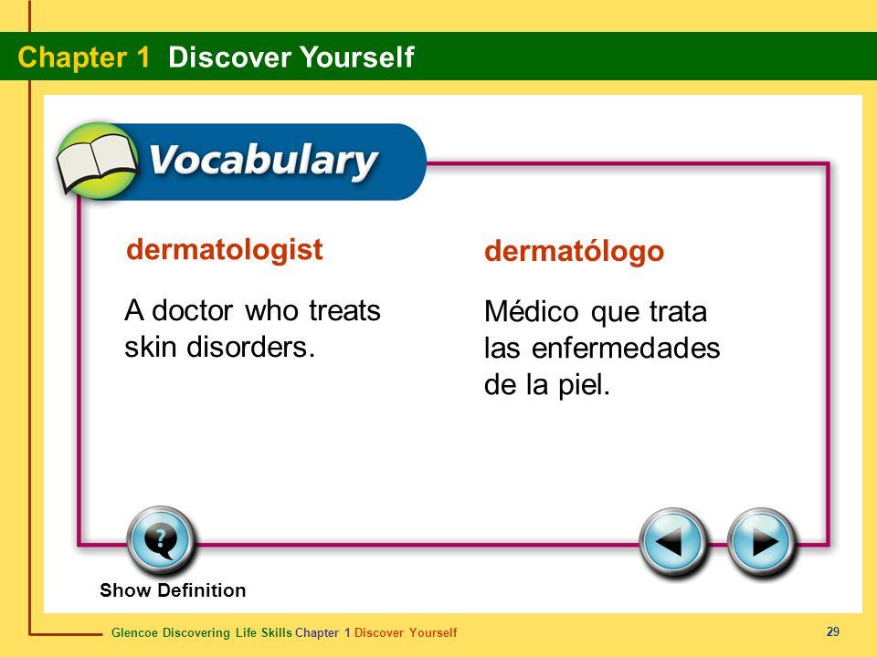 Glencoe Discovering Life Skills Chapter 1 Discover Yourself Chapter 1 Discover Yourself 29 dermatologist dermatólogo A doctor who treats skin disorder