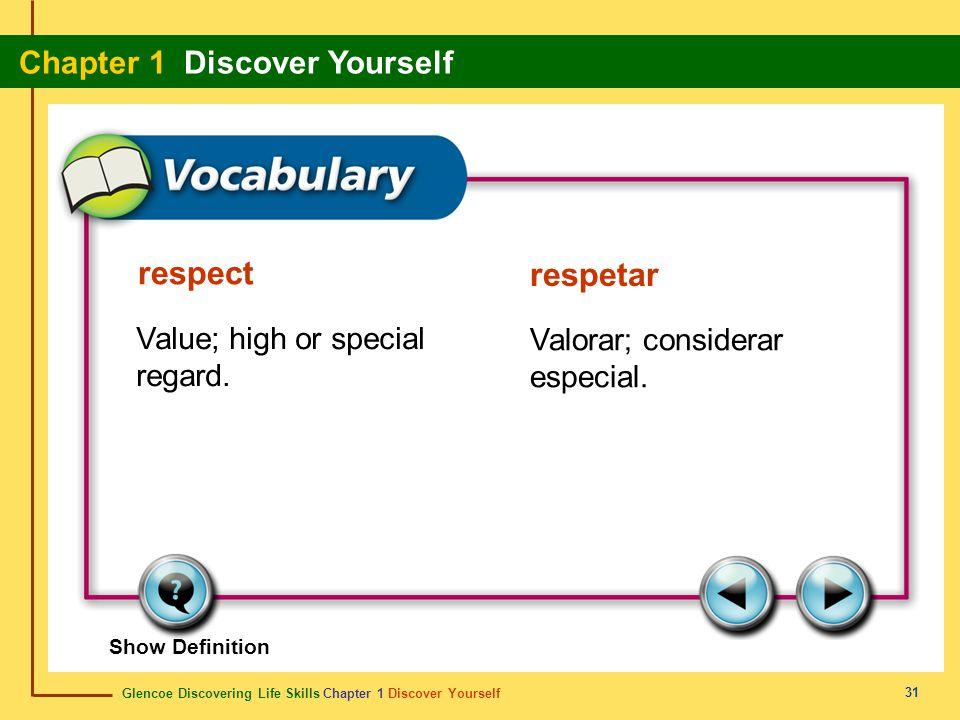 Glencoe Discovering Life Skills Chapter 1 Discover Yourself Chapter 1 Discover Yourself 31 respect respetar Value; high or special regard. Valorar; co