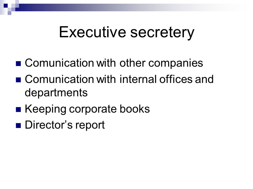 Executive secretery Comunication with other companies Comunication with internal offices and departments Keeping corporate books Director's report