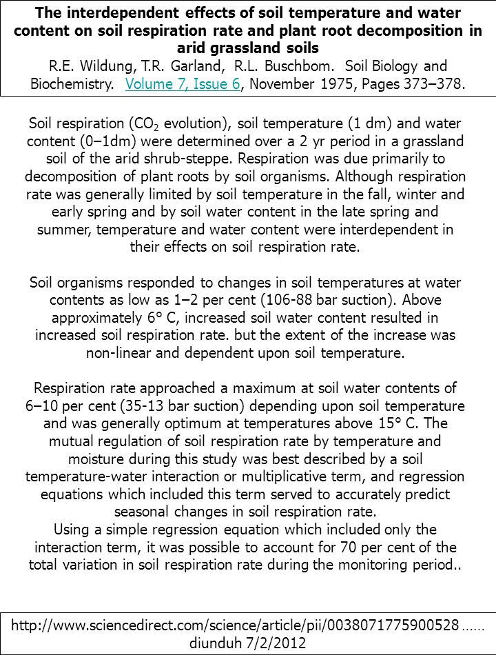 The interdependent effects of soil temperature and water content on soil respiration rate and plant root decomposition in arid grassland soils R.E.