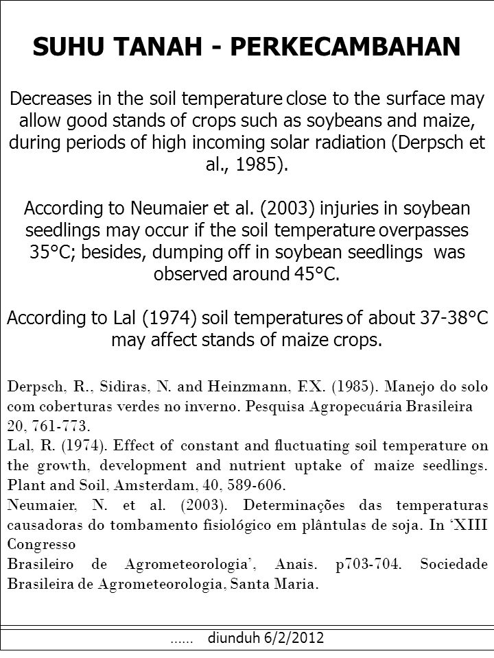 SUHU TANAH - PERKECAMBAHAN Decreases in the soil temperature close to the surface may allow good stands of crops such as soybeans and maize, during periods of high incoming solar radiation (Derpsch et al., 1985).