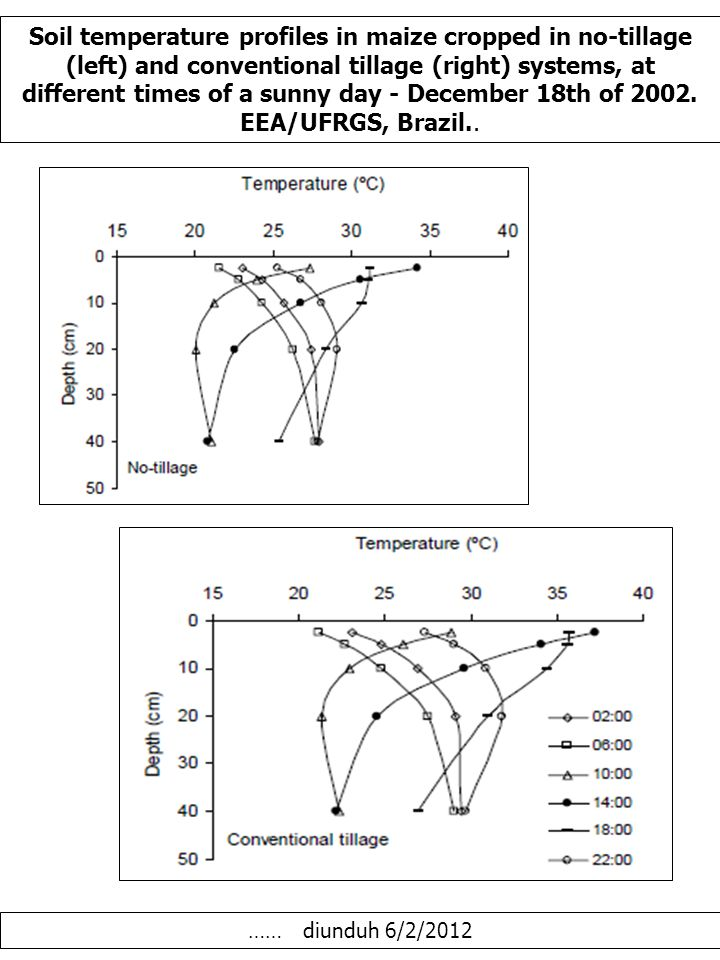 Soil temperature profiles in maize cropped in no-tillage (left) and conventional tillage (right) systems, at different times of a sunny day - December 18th of 2002.