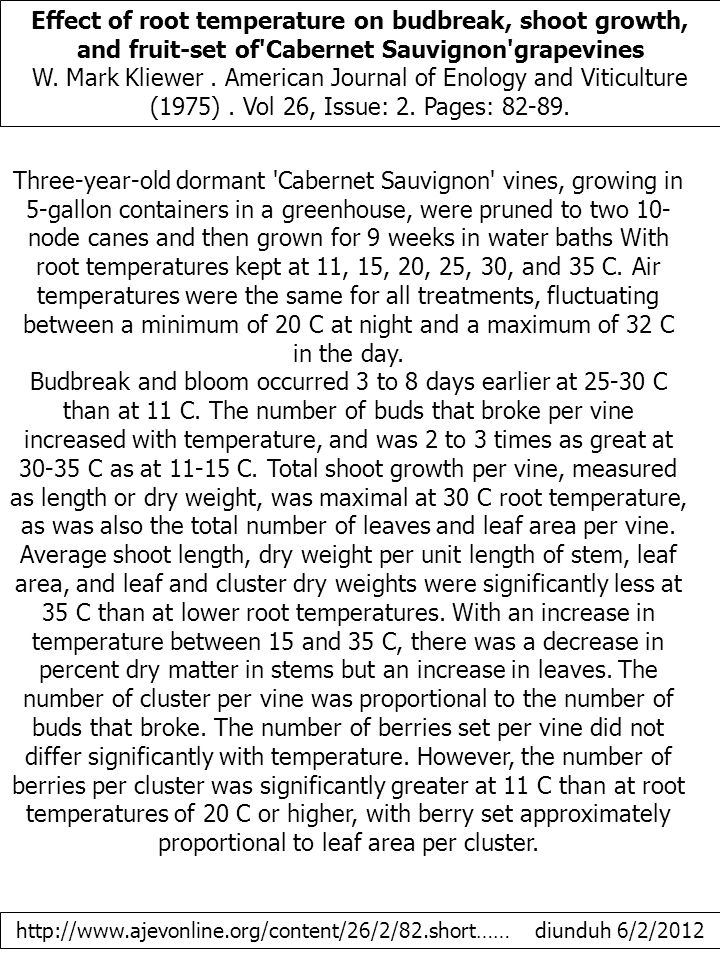 Effect of root temperature on budbreak, shoot growth, and fruit-set of Cabernet Sauvignon grapevines W.