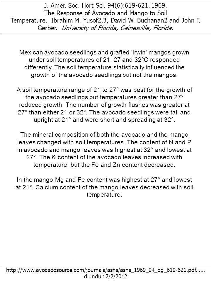 J. Amer. Soc. Hort Sci. 94(6):619-621. 1969. The Response of Avocado and Mango to Soil Temperature. Ibrahim M. Yusof2,3, David W. Buchanan2 and John F