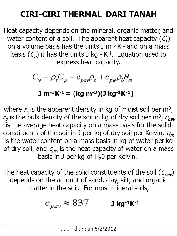 KAPASITAS PANAS The heat capacity of the water component of the soil (q mcpw ) depends on the water content and the heat capacity for water.