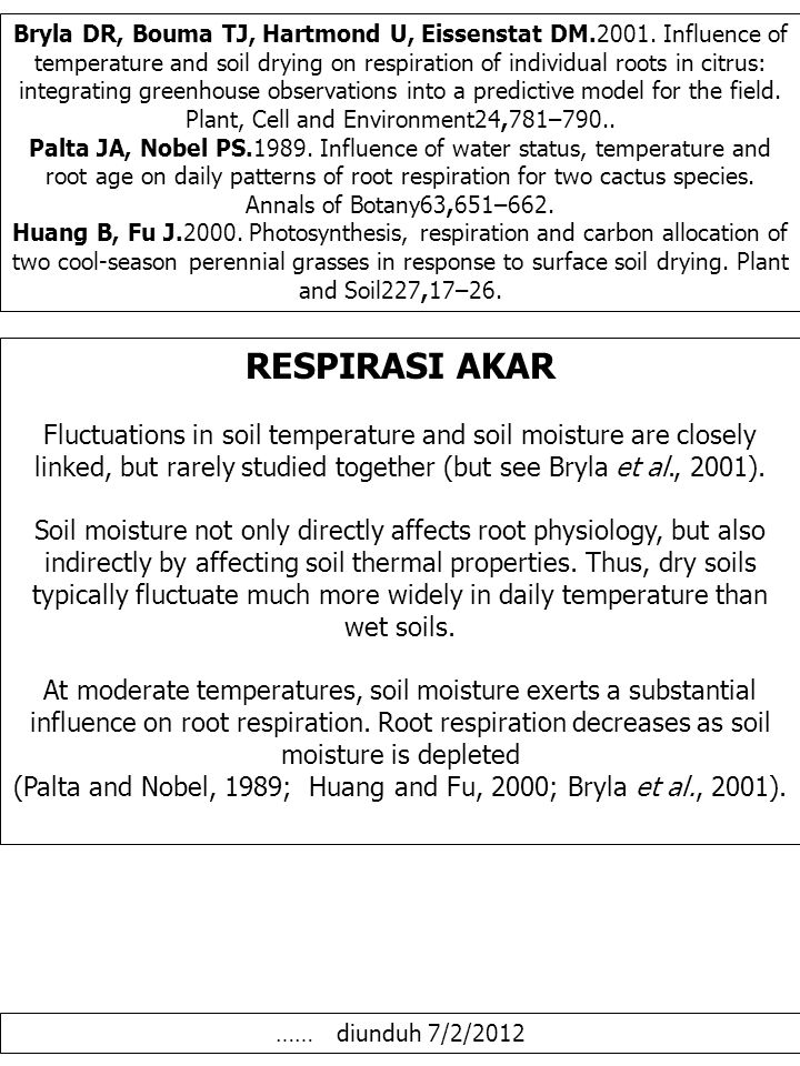 Bryla DR, Bouma TJ, Hartmond U, Eissenstat DM.2001. Influence of temperature and soil drying on respiration of individual roots in citrus: integrating