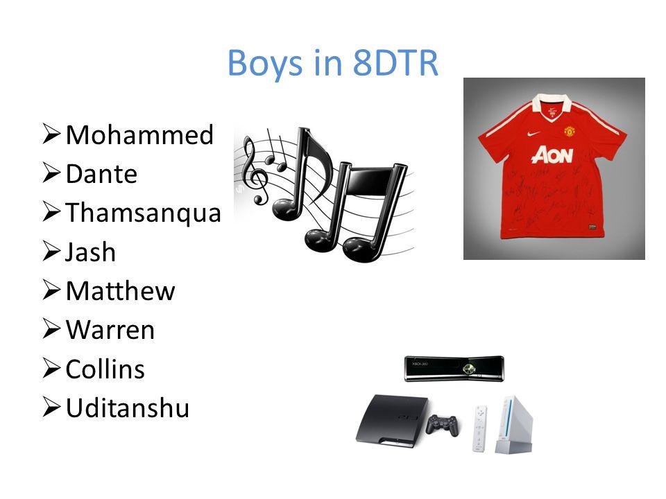 Boys in 8DTR  Mohammed  Dante  Thamsanqua  Jash  Matthew  Warren  Collins  Uditanshu