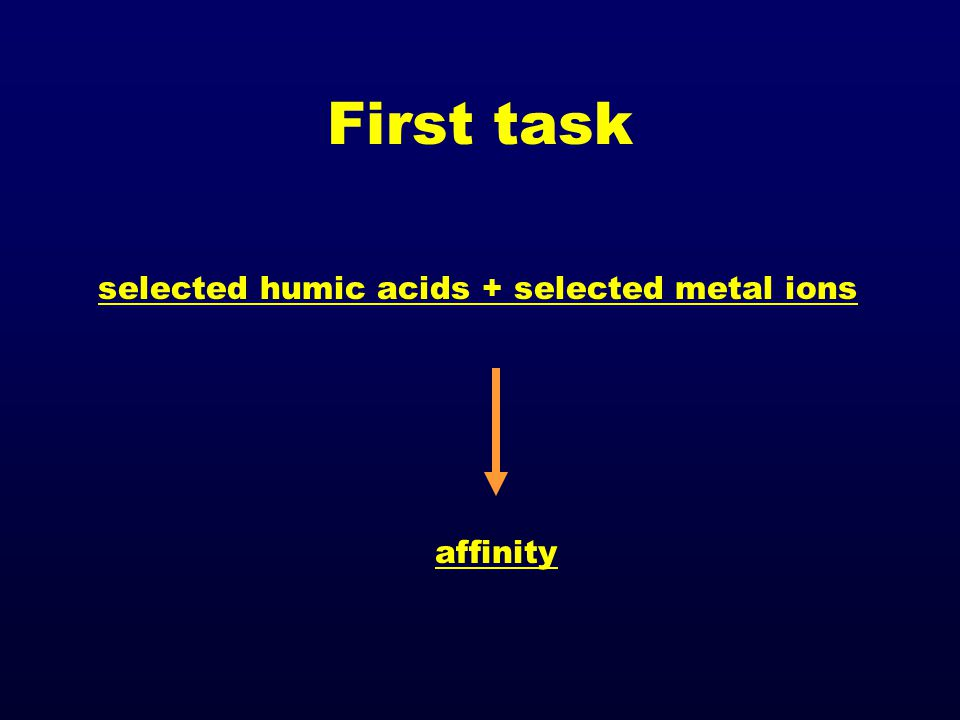 First task selected humic acids + selected metal ions affinity