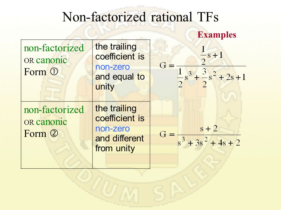 Factorized rational TFs factorized rational Form  with time constants factorized rational Form  with zeroes and poles examples of type g=0