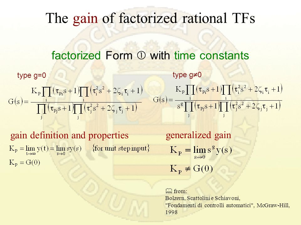 The gain of factorized rational TFs in MatLab® dcgain Computes low frequency (DC) gain of LTI system Syntax:K P = dcgain(sys) sys is the TF object in Matlab.