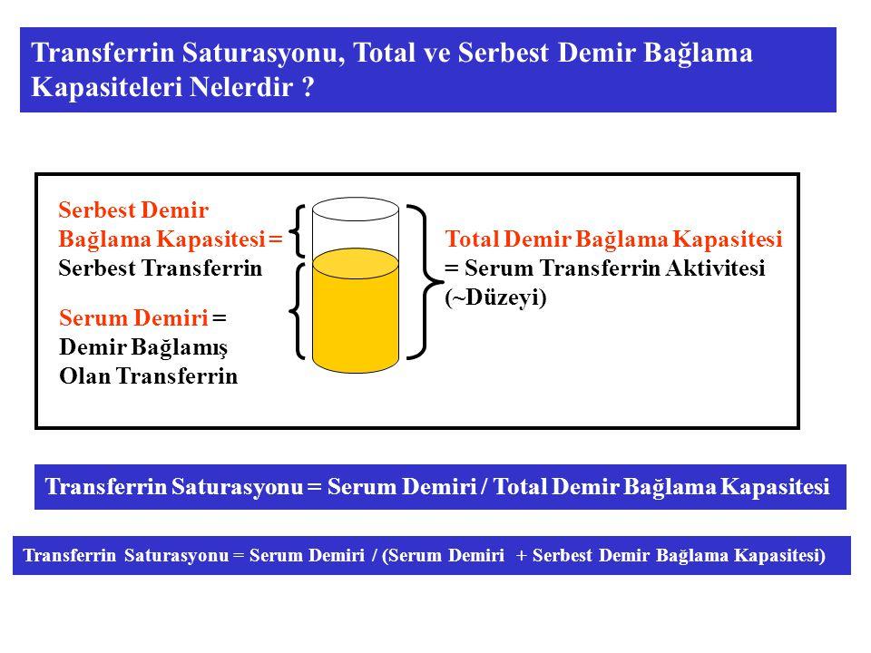 Total Demir Bağlama Kapasitesi = Serum Transferrin Aktivitesi (~Düzeyi) Serum Demiri = Demir Bağlamış Olan Transferrin Serbest Demir Bağlama Kapasitesi = Serbest Transferrin Transferrin Saturasyonu = Serum Demiri / Total Demir Bağlama Kapasitesi Transferrin Saturasyonu = Serum Demiri / (Serum Demiri + Serbest Demir Bağlama Kapasitesi) Transferrin Saturasyonu, Total ve Serbest Demir Bağlama Kapasiteleri Nelerdir