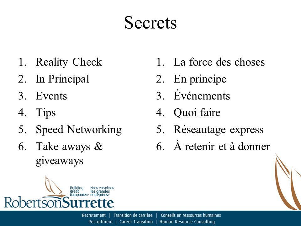 Secrets 1.Reality Check 2.In Principal 3.Events 4.Tips 5.Speed Networking 6.Take aways & giveaways 1.La force des choses 2.En principe 3.Événements 4.Quoi faire 5.Réseautage express 6.À retenir et à donner