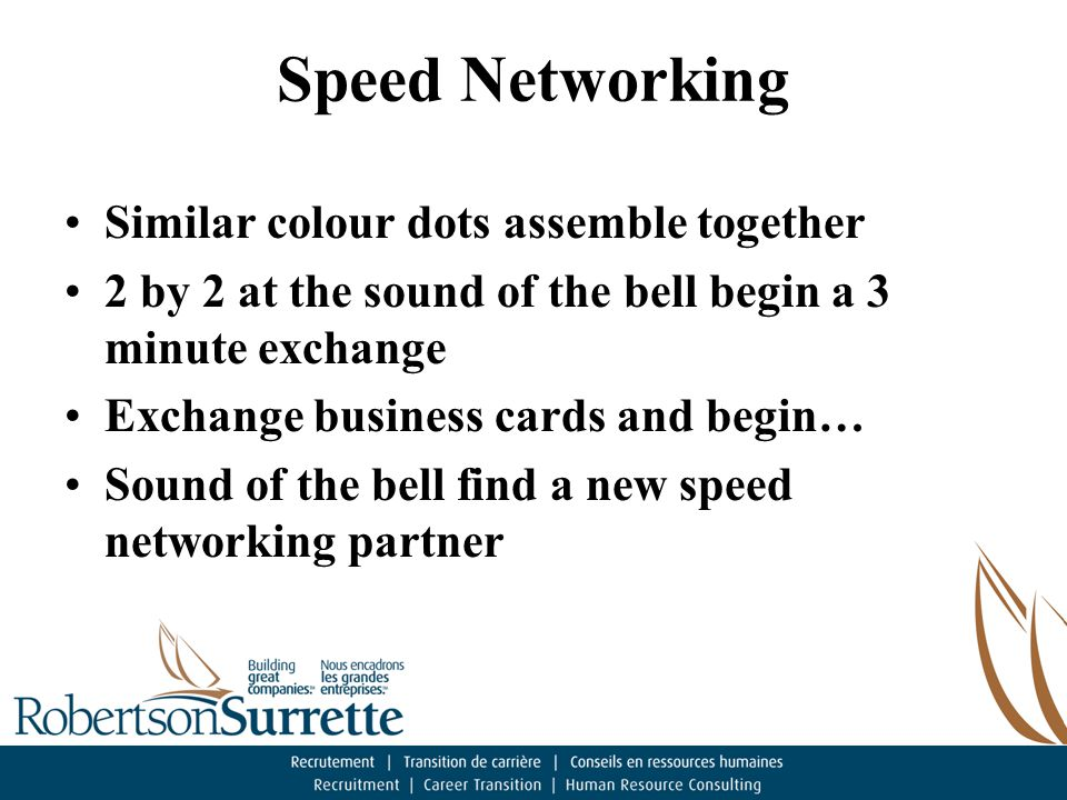 Speed Networking Similar colour dots assemble together 2 by 2 at the sound of the bell begin a 3 minute exchange Exchange business cards and begin… Sound of the bell find a new speed networking partner