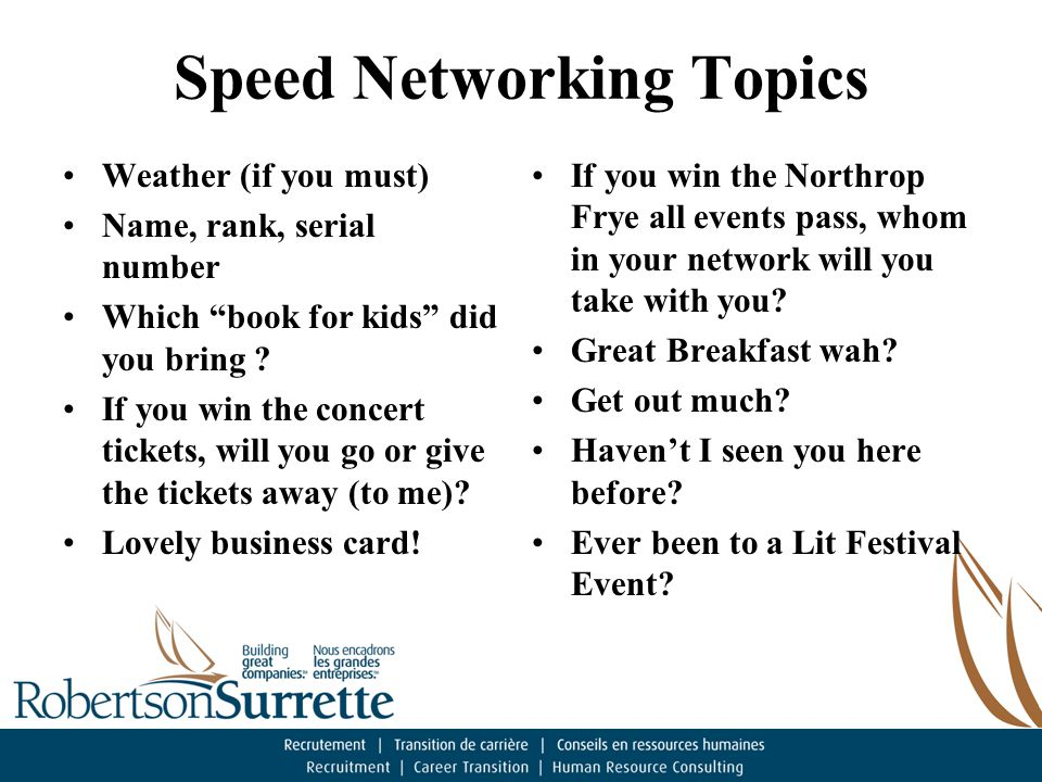 Speed Networking Topics Weather (if you must) Name, rank, serial number Which book for kids did you bring .