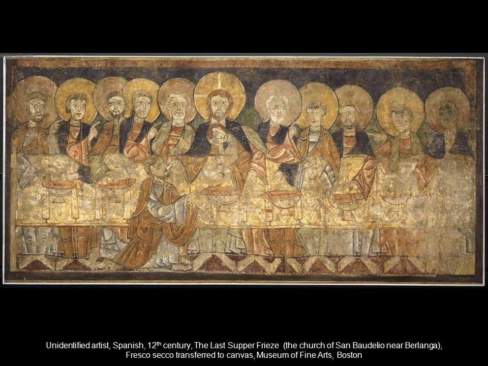 Unidentified artist, Spanish, 12 th century, The Last Supper Frieze (the church of San Baudelio near Berlanga), Fresco secco transferred to canvas, Mu