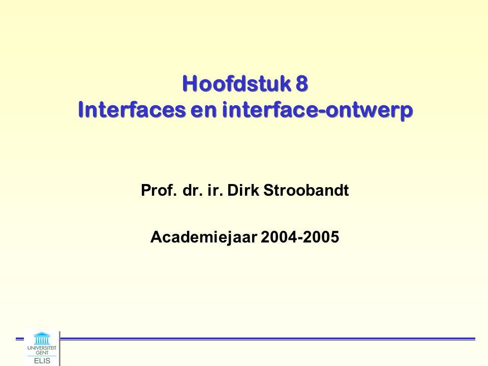 Hoofdstuk 8 Interfaces en interface-ontwerp Prof. dr. ir. Dirk Stroobandt Academiejaar 2004-2005