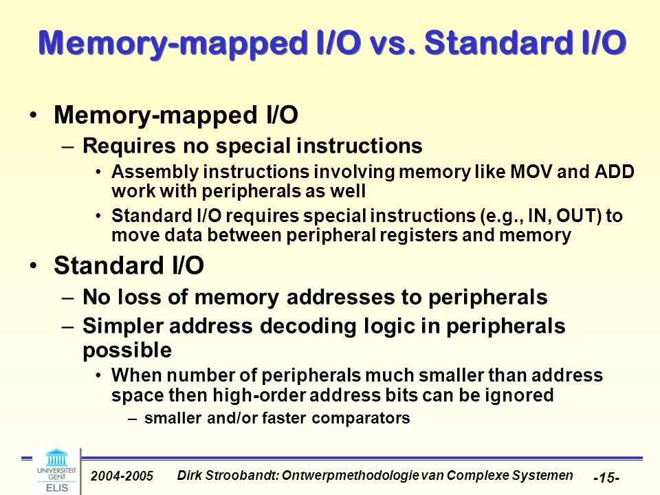 Dirk Stroobandt: Ontwerpmethodologie van Complexe Systemen 2004-2005 -15- Memory-mapped I/O vs.