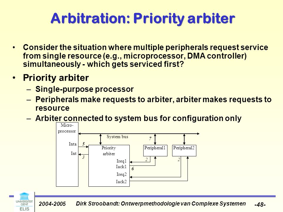 Dirk Stroobandt: Ontwerpmethodologie van Complexe Systemen 2004-2005 -48- Arbitration: Priority arbiter Consider the situation where multiple peripherals request service from single resource (e.g., microprocessor, DMA controller) simultaneously - which gets serviced first.