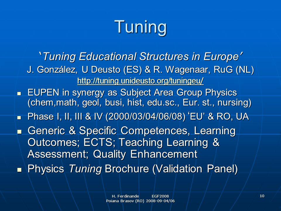 H. Ferdinande EGF2008 Poiana Brasov (RO) 2008-09-04/06 10 Tuning ' Tuning Educational Structures in Europe ' J. González, U Deusto (ES) & R. Wagenaar,