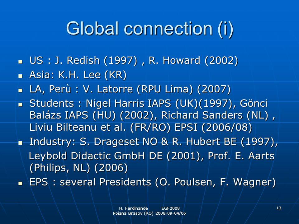 H. Ferdinande EGF2008 Poiana Brasov (RO) 2008-09-04/06 13 Global connection (i) US : J. Redish (1997), R. Howard (2002) US : J. Redish (1997), R. Howa
