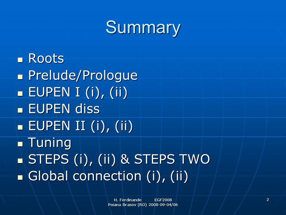 H. Ferdinande EGF2008 Poiana Brasov (RO) 2008-09-04/06 2 Summary Roots Roots Prelude/Prologue Prelude/Prologue EUPEN I (i), (ii) EUPEN I (i), (ii) EUP