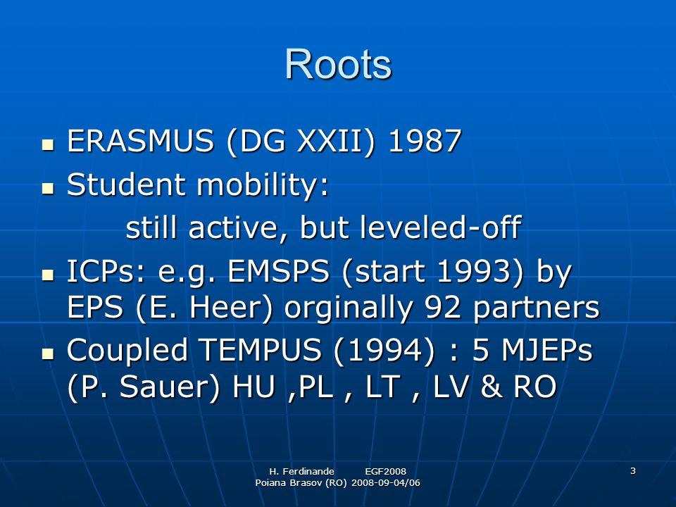 H. Ferdinande EGF2008 Poiana Brasov (RO) 2008-09-04/06 3 Roots ERASMUS (DG XXII) 1987 ERASMUS (DG XXII) 1987 Student mobility: Student mobility: still