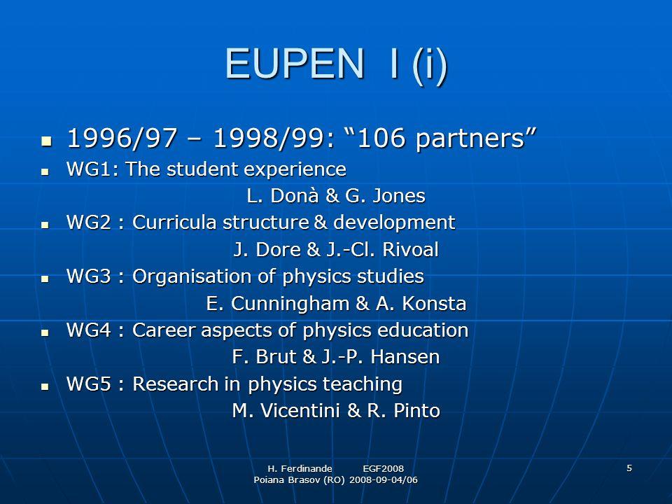 "H. Ferdinande EGF2008 Poiana Brasov (RO) 2008-09-04/06 5 EUPEN I (i) 1996/97 – 1998/99: ""106 partners"" 1996/97 – 1998/99: ""106 partners"" WG1: The stud"