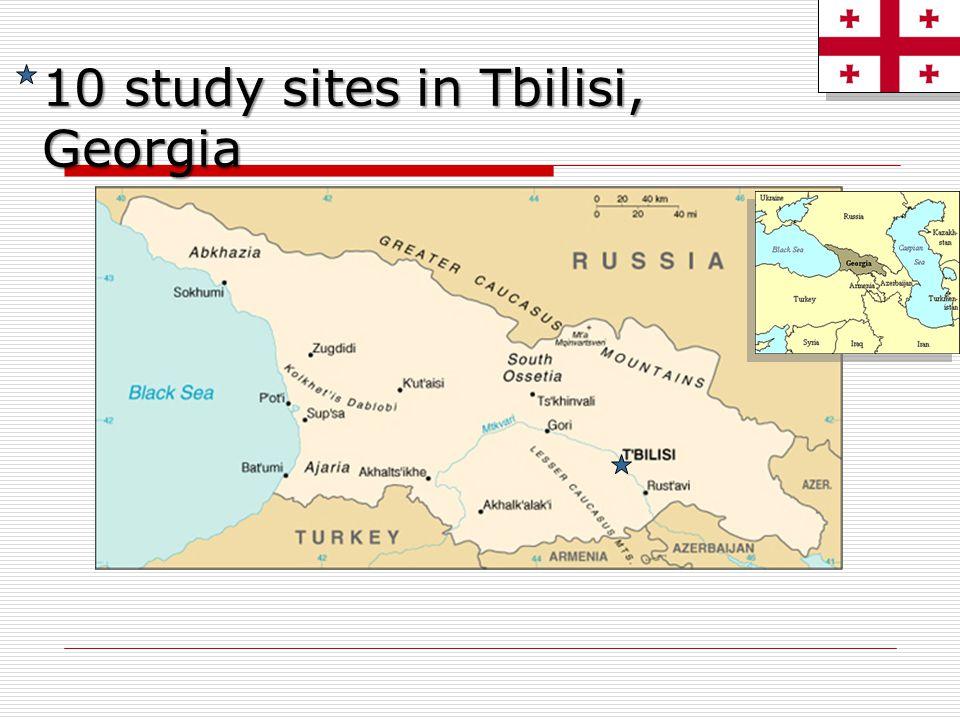 10 study sites in Tbilisi, Georgia