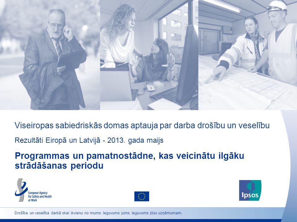 Viseiropas sabiedriskās domas aptauja par darba drošību un veselību Rezultāti Eiropā un Latvijā - 2013. gada maijs Programmas un pamatnostādne, kas ve