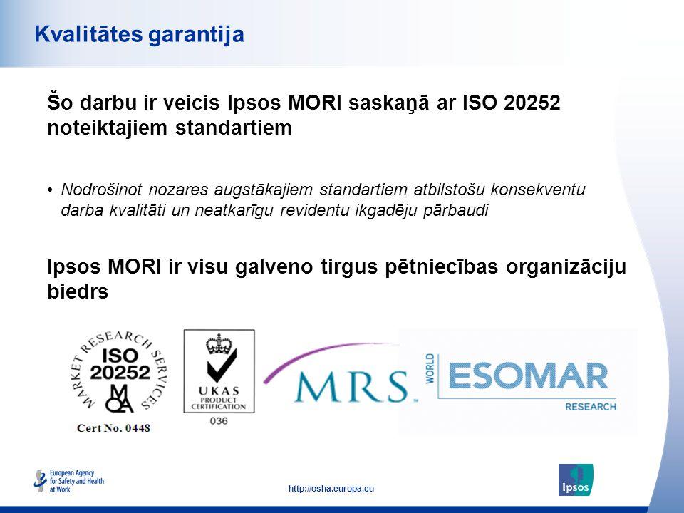 53 http://osha.europa.eu Šo darbu ir veicis Ipsos MORI saskaņā ar ISO 20252 noteiktajiem standartiem Kvalitātes garantija Ipsos MORI ir visu galveno t